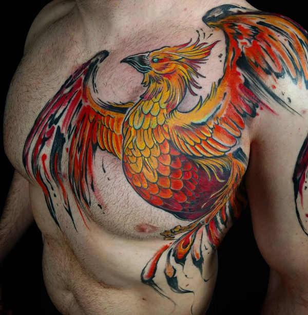 Pomysły na tatuaże Znaczenie tatuaży  Tatuaż feniksa – znaczenie, historia, 30 zdjęć