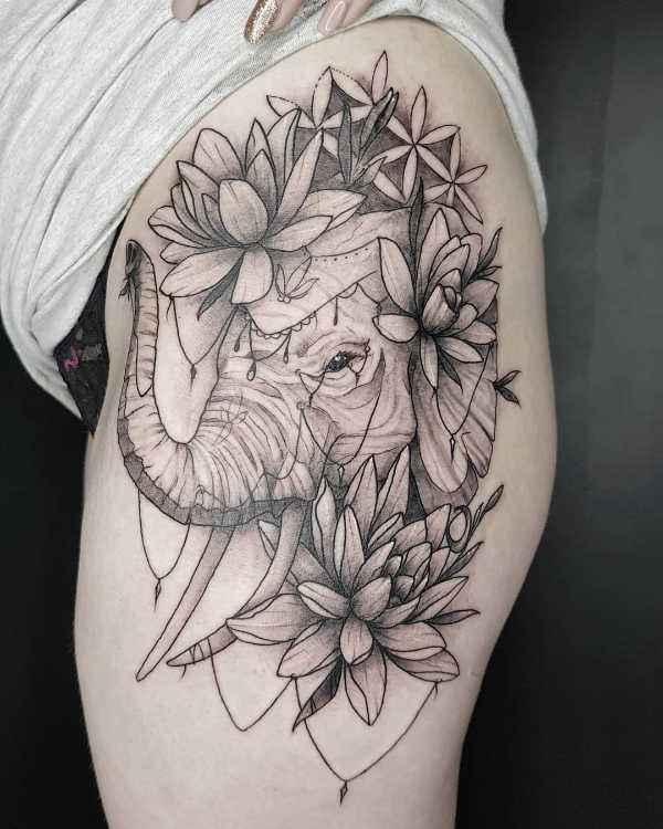 Znaczenie tatuaży Zwierzęta  Tatuaż słoń – znaczenie, symbolika, 50 zdjęć