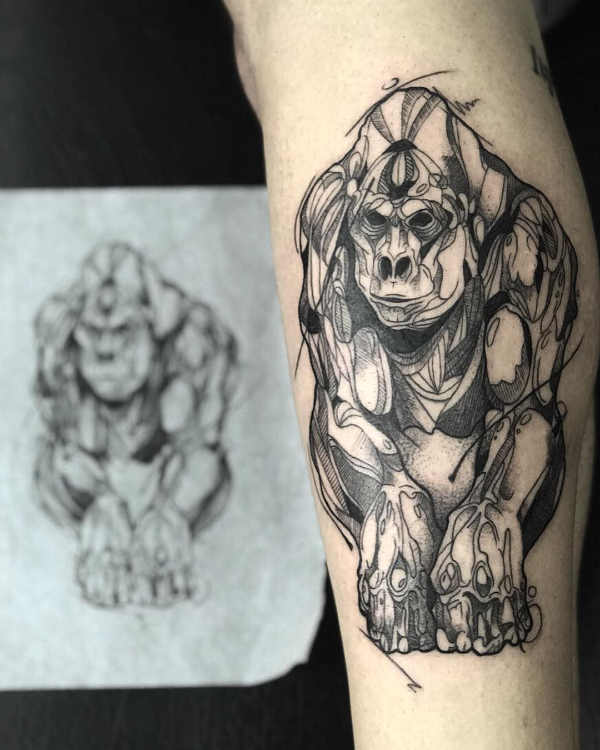 Znaczenie tatuaży Zwierzęta  Tatuaż goryl – znaczenie, historia, 38 zdjęć