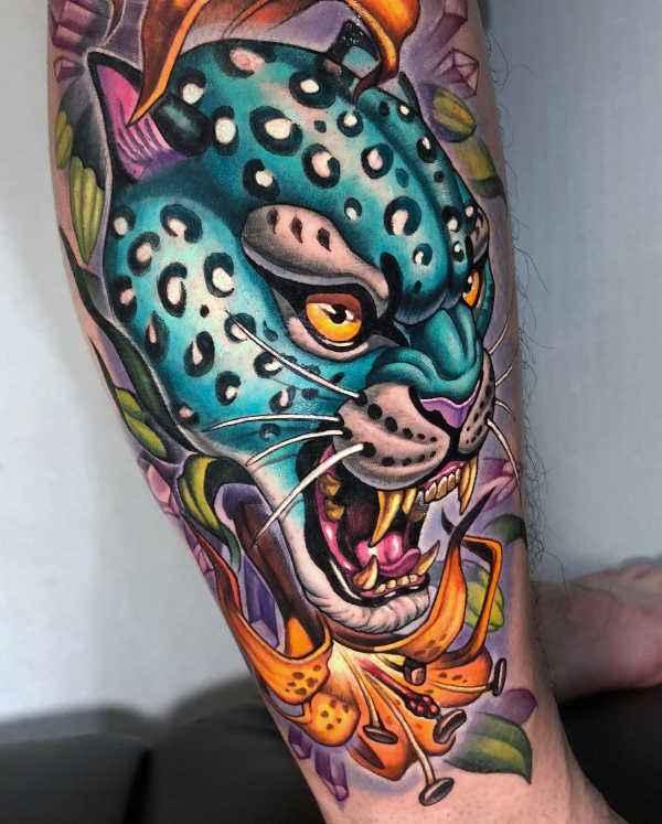 Znaczenie tatuaży Zwierzęta  Tatuaż lampart – znaczenie, historia, 25 zdjęć